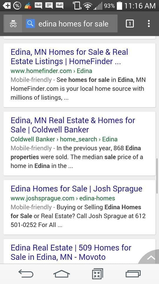 Real Estate Mobile SEO - Edina Homes For Sale